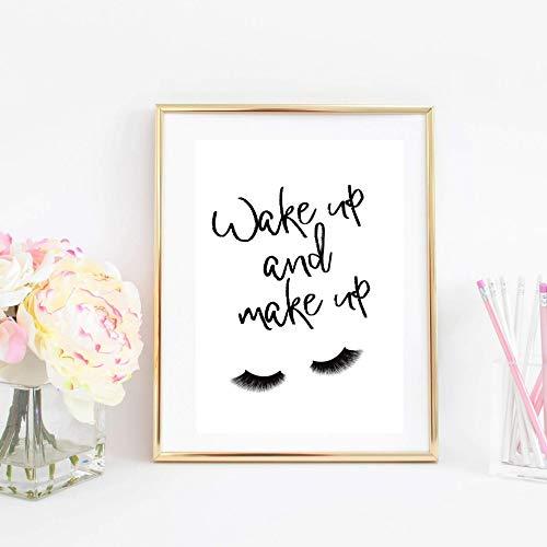 Din A4 Kunstdruck ungerahmt Wake up and make up, Wimpern, Spruch, Zitat, Typographie Beauty Mode Fashion Geschenk Druck Poster Bild