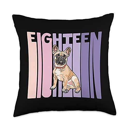 French Bulldog Frenchie Girls Birthday Designs 18 Year Old French Bulldog Frenchie Lover Birthday Girl Throw Pillow, 18x18, Multicolor