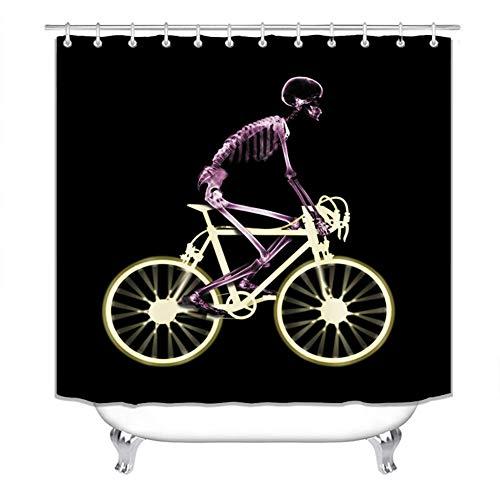 Duschvorhang-Sets mit Teppichen, Toilettendeckelabdeckung & Badematte, Duschvorhängen, Schädelreiten auf einem Fahrrad Lustige humorvolle Designkunst