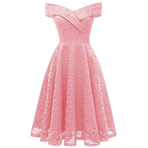 Taigood Damen Vintage Spitze Prinzessin Kleid Spitze Bardot Schatz V-Ausschnitt Cocktailparty A-Linie Swing Dress Pink XXL