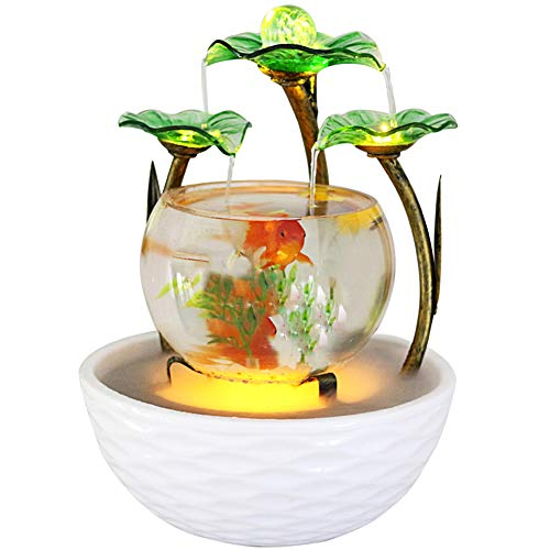 crapelles Colored Green Glass Fountain Waterfall Fish Tank with Atomization, Aquaqrium Ceramic Metal Vintage Wrought Iron for Home Office Tabletop Indoor Relax, Christmas Ideas