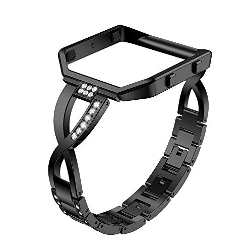 TeaBoy Stainless Steel Bands Compatible with Fitbit Blaze for Women, Bling Replacement Blaze Band Bracelet with Rhinestones Diamond X-Link Accessories Watch Band Blaze Protect Case for Girl Ladies