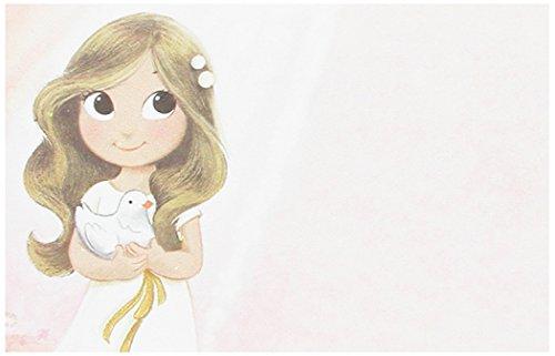Mopec Estampa de Primera Comunión de niña sujetando una Paloma, Pack de 25 Unidades, Cartulina, Multicolor, 0.02x8.00x12.50 cm
