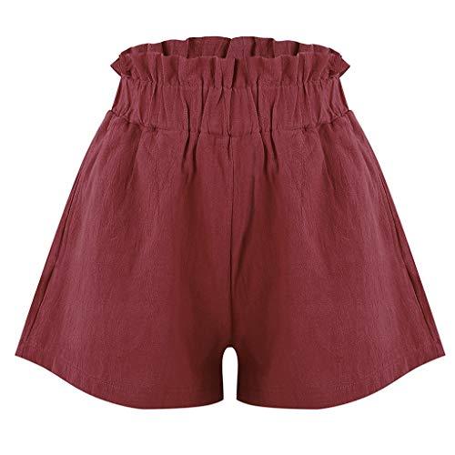 Pantalones cortos de bolsillo para mujer de Exteren con diseño de rayas y cintura elástica, Marrón, L