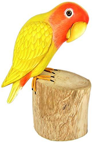 Brave Wings Figura decorativa de madera tallada y pintada a mano, diseño de tortolito Lutino (Agapornis roseicollis), color amarillo