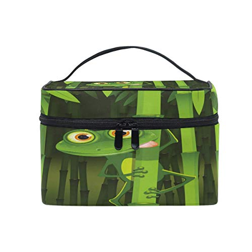 Makeup Bag, Frog Bamboo Portable Travel Case Large Print Cosmetic Bag Organizer Compartments for Girls Women Lady