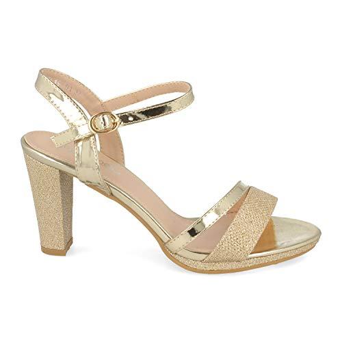 Sandalia de Mujer Ankle Strap con Tacon Cuadrado Alto, Tiras Finas en Pala y Pulsera con Hebilla. Ideal para Noche o Fiesta. Primavera Verano 2020. Talla 39 Oro