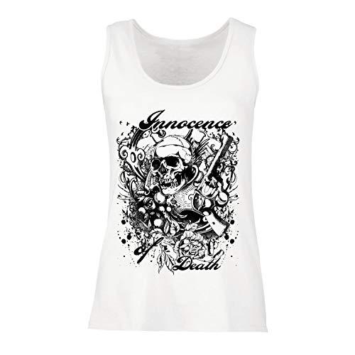 lepni.me Damen Tank-Top Unschuld des Todes - Skull Art, Schwermetall-Grafik (X-Large Weiß