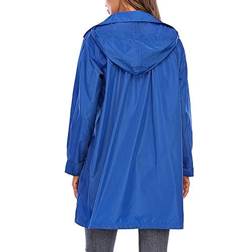 Chaqueta impermeable para mujer, cremallera al aire libre de longitud media a prueba de viento ligero Color sólido Poncho impermeable de secado rápido con capucha, azul, S
