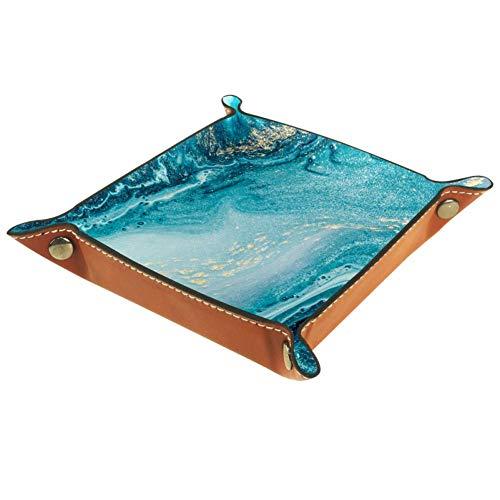 Eslifey - Bandeja organizadora de textura, diseño de espirales, color azul, Piel de microfibra., multicolor, 20.5x20.5cm