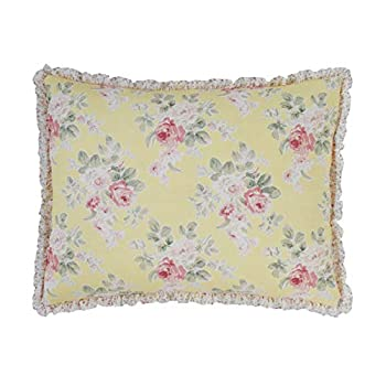 Laura Ashley Home | Melany Collection | Premium Quality Pillow Sham Decorative Pillow Case for Bedroom Living Room and Home Décor Standard Yellow