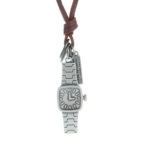 Gudeke Vintage Retro Halskette mit Kreuz Kruzifix Ring Armbanduhr Trenduhr Anhänger aus Leder und Kupfer Metalllegierung für Männer Frauen