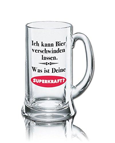 Lustiges Bierglas Bierkrug Icon 0,5L - Dekor: Ich kann Bier verschwinden lassen. Was ist Deine SUPERKRAFT?