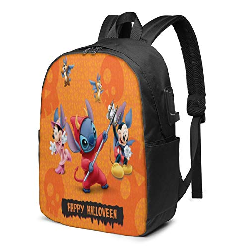 Fashion Leisure Backpack For Girls And Boys, Large Laptop Backpack, Waterproof Business Carry On Backpack For Men And Women, Water Bottle Pockets Daypack,Lilo Stitch Disney Halloween