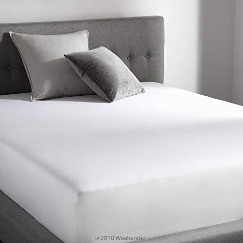 WEEKENDER 200 Thread Count Hotel Fitted Sheet - Cotton Rich Blend - White - Twin