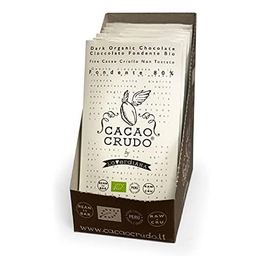 CiboCrudo Tavoletta di Cioccolato Fondente al 80%, Qualità Criollo Pura al 100% Senza Zucchero, Poche Calorie, il Gusto Vero del Cacao, Cioccolato Extra, Confezione da 10pz x 50g
