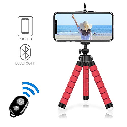 Alfort Phone Camera Tripod Mount/Stand Flexible, Mobile Phone Tripod Mini 360 Degree Portable Adjustable with Remote + Clip for iPhone 8/8 Plus/7/ Samsung Galaxy S9/A8 2018, Huawei P30/P20 (Red)