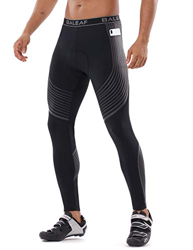 BALEAF Men's Cycling Pants 3D Padded Long Bike Pants Bicycle Biking Tights with Pockets Road Bike UPF 50+ Black/Gray Size XXL
