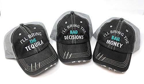 Mary's Monograms I'll Bring The Alcohol and Bad Decisions Distressed Trucker Party Hats - Pick Your Saying Black