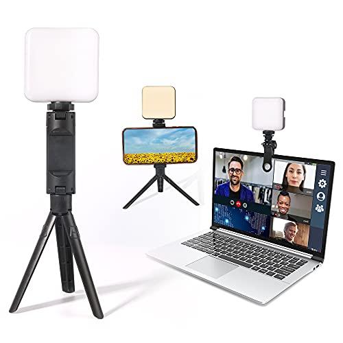 Luz para Videoconferencia Cámara, Luz De Video LED, Mini Iluminación de Fotografía con Trípode, 2500-6500K Regulable LED Video Relleno Fill-in Light para Laptops, Reunión de Zoom, Transmisión Vivo