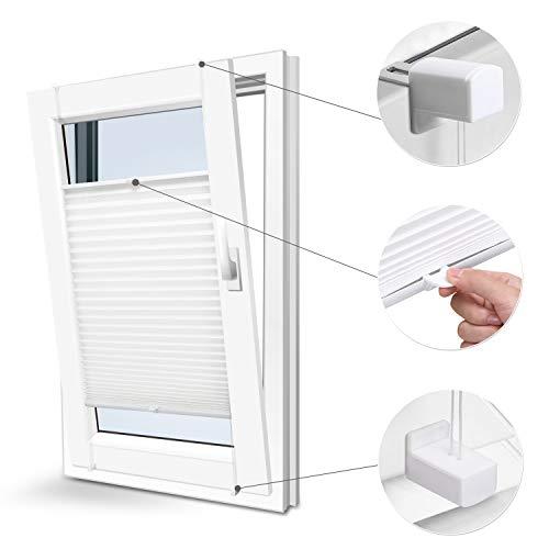 KINLO Plissee Faltrollo ohne Bohren mit Klemmträger 90x220cm Weiß Blickdicht Sonnenschutz Sonnenschutzrollo Fensterrollo Jalousie für Fenster & Tür