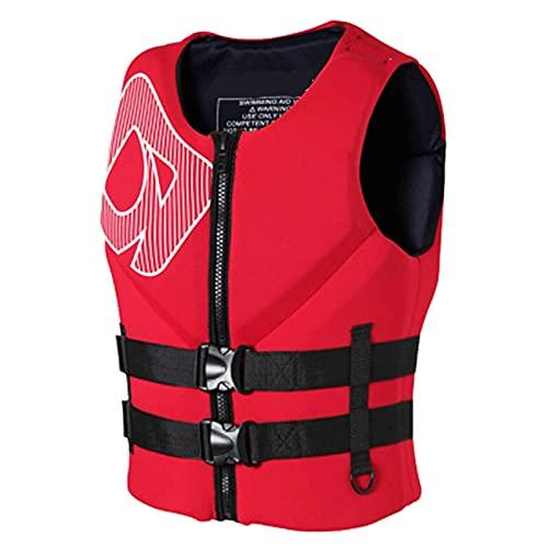 Chaleco de Vida de Deportes acuáticos Survival Vieja Vida Flotación Adultos Buoyancias for Kayak Barco de Pesca (Color : Red, Size : S)