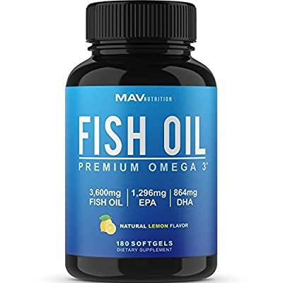 Omega 3 Fish Oil 3,600 mg - Designed to Support Heart, Brain, Joints & Skin; with EPA + DHA; Burpless with a Natural Lemon Flavor; Non-GMO, 180 Count