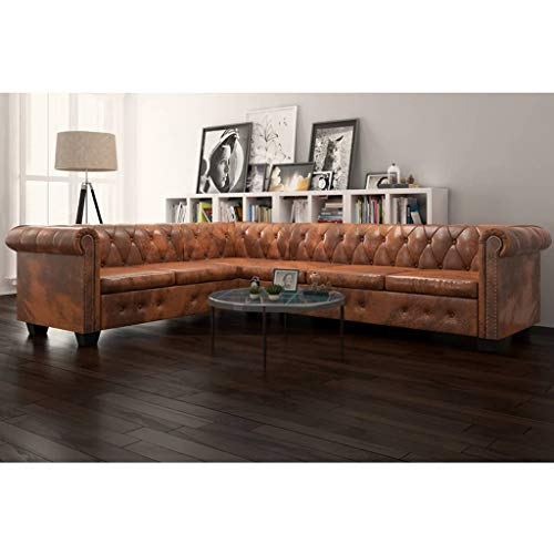 INLIFE Chesterfield Corner Sofa,L Shape 6-Seater Sectional Sofa for Living Room Brown Faux Leather