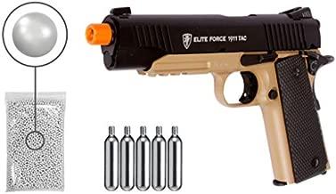 Wearable4U Umarex Elite Force 1911 TAC - BLK/DEB (Gen3) Airsoft Pistol with Included 5x12 Gram CO2 Tanks Pack of 1000 6mm 0.20g BBS Bundle (BLK/DEB)