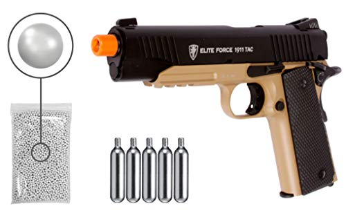 Wearable4U Umarex Elite Force 1911 TAC - BLK/DEB (Gen3) Airsoft Pistol with Included 5x12 Gram CO2 Tanks Pack of 1000 6mm 0.20g BBS Bundle (Stainless)