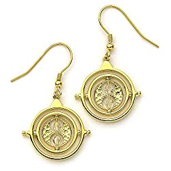 Harry Potter Time Turner Sterling Silver, Gold Plated Drop Earrings embellished with Swarovski Crystals