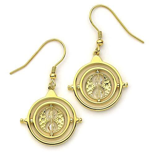 The Carat Shop Harry Potter Zeit Turner Gold überzogene Sterlingsilber-Tropfen-Ohrringe mit Kristallen