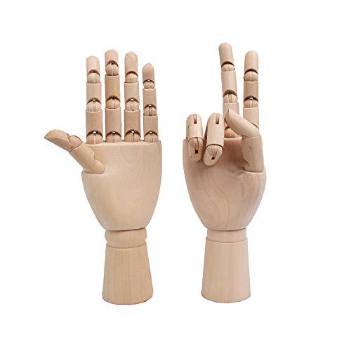 Flexible Wooden Hand Model Moveable Wooden Artists Manikin Hand Figure Home Office Desk Decoration (2 pcs)(7 Inch)