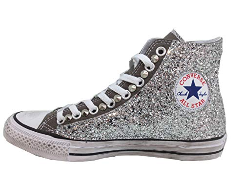 Accessoriato Converse all Star Hi Glitter Argento Grigio (Disponibile dal 35 al 45)
