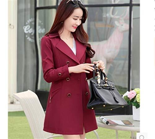 ZYSTMCQZ Abrigo de moda para mujer con doble broche para mujer, delgado, grande, largo, cortavientos (color: rojo vino, talla XXL)