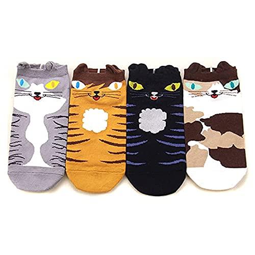 MEOKEY Calcetines de Algodón con Animales Lindos para Mujeres y Niñas, 4 pares