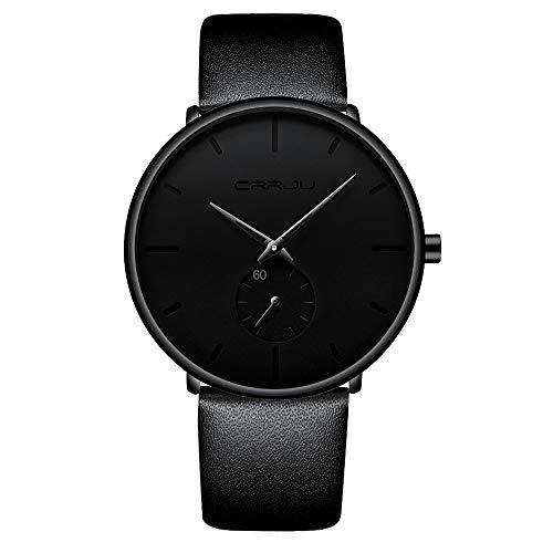 Reloj minimalista unisex para hombre, resistente al agua, reloj militar, correa de piel de regalo clásica con puntero negro (piel)