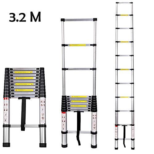 Buyi-World Escalera telescópica 3.2M de aluminio Carga hasta 150 KG, escalera plegable portátil extensible para el hogar, la oficina, el desván y la fábrica