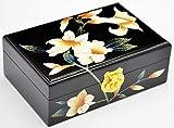 ALIANG Cajas de joyeríaCaja de Almacenamiento China de Madera Empuje Laca de luz Madera Retro Maquillaje Cassette Cerradura Regalo de cumpleaños