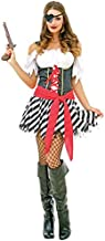 Perilous Pirate Women's Halloween Costume Sexy Caribbean Buccaneer Captain, Red, Small