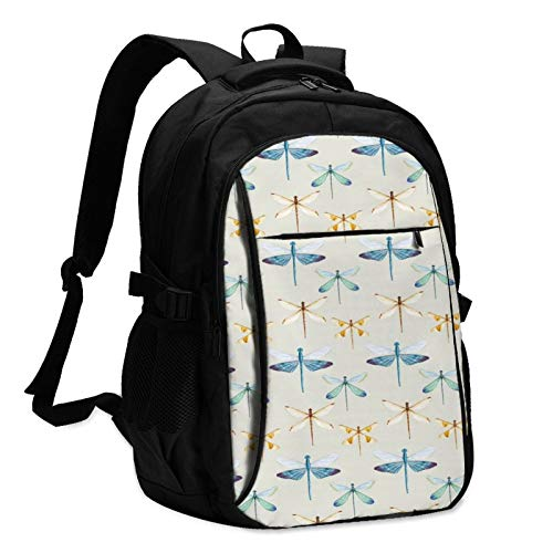 Vintage Dragonflies Unisex Travel Laptop Backpack with USB Charging Port School Anti-Theft Bag