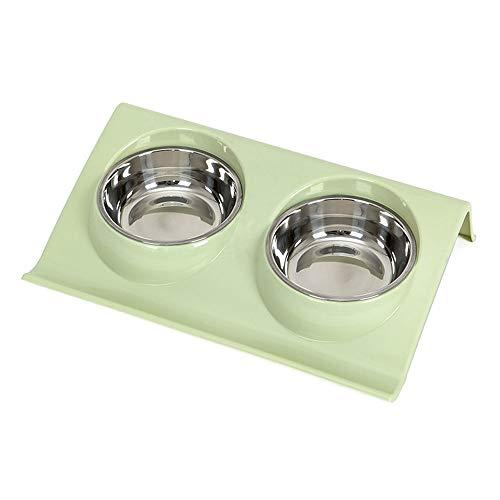 ZSLLO Huisdier Bowls, Roestvrij Staal Dubbele Huisdier Bowls Voedsel Water Feeder voor Hond Puppy Katten Huisdieren benodigdheden Feeding Vaatwassers, met Geen Spill PP Lade Small Groen