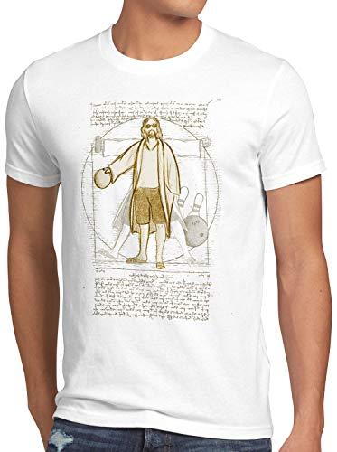 style3 Dude Vitruviano T-Shirt da Uomo Lebowski Bowling Bowler Big Rude, Dimensione:S, Colore:Bianco