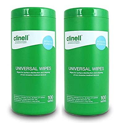 Clinell Universal Wipes - Tub of 100-2 Pack by Clinell