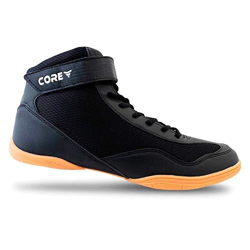 Core Buty do biegania dla mężczyzn, kobiet i dzieci – antypoślizgowe buty do sportów walki – wytrzymałe buty treningowe odpowiednie do wrestlingu, crossfitu i podnoszenia ciężarów – buty do sportów walki o skandynawskim wzornictwie, czarny - czarny - 33 EU
