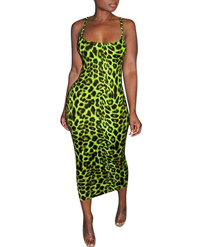 Rela Bota Women's Sexy Spaghetti Strap Sleevless Bodycon Midi Club Cocktail Dress Leopard Print Green XS