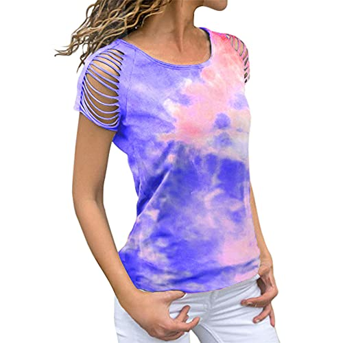 Women's Casual Cold Long Sleeve Front Twist Tops Ladies tie-dye Ripped Off-Shoulder Printed Short-Sleeved t-Shirt Summer Blouse Shirts Tie-dye Short-Sleeved Off-Shoulder Ripped T-Shirt Pullover Tee