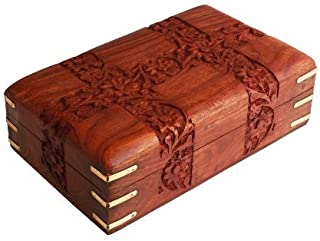 Fine Rosewood Jewelry Trinket Box Keepsake Organizer Handcrafted with Floral Carvings, 6 x 4 inches by Store Indya