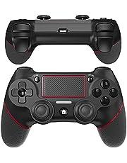 JOYSKY controlador inalámbrico Bluetooth gamepad con vibración dual recargable remoto de seis ejes vibración dual y controlador de conector de audio (Rojo)