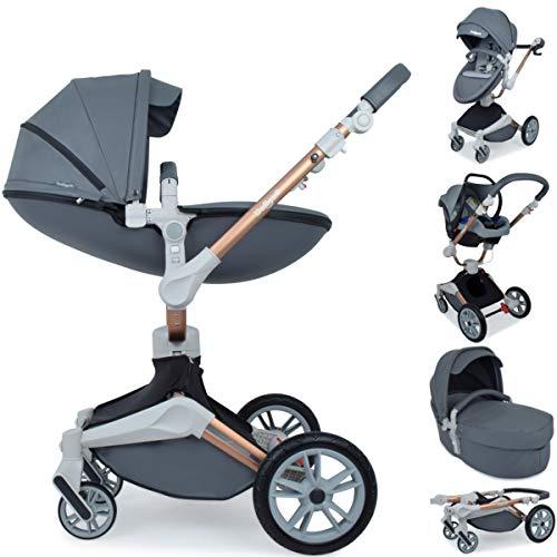 Daliya ® 3in1 360° Turniyo Kinderwagen Kombikinderwagen Buggy mit Babywanne, Sportsitz & Cariyo Babyschale, Aluminium Rahmen (3in1, Dunkel Grau)
